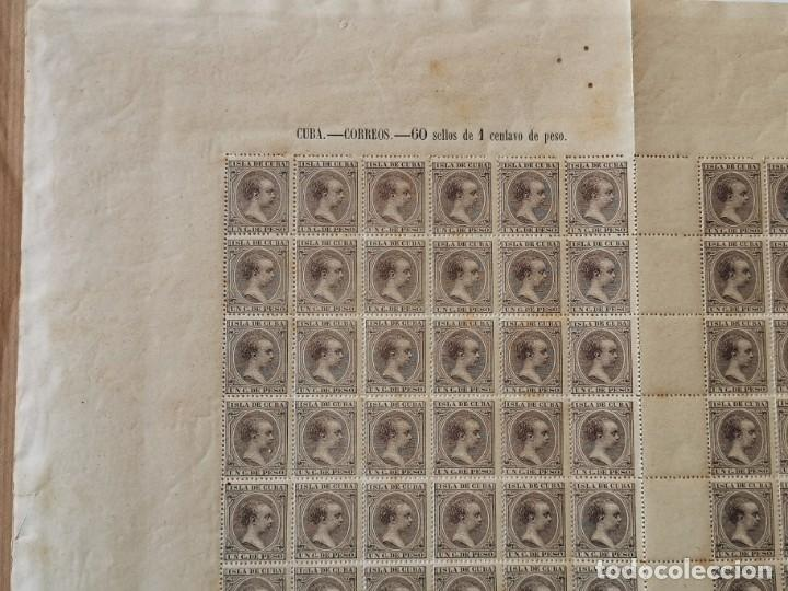 Sellos: PLANCHA CON 100 SELLOS 1 CENTAVOS DE PESO 1890 - ISLA DE CUBA - ALFONSO XIII - EDIFIL 112 - RARÍSIMA - Foto 12 - 203439216