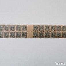 Sellos: PLANCHA CON 28 SELLOS 5 CENTAVOS DE PESO 1890 ISLA DE CUBA ALFONSO XIII - PLANCHA RARÍSIMA. Lote 203440541
