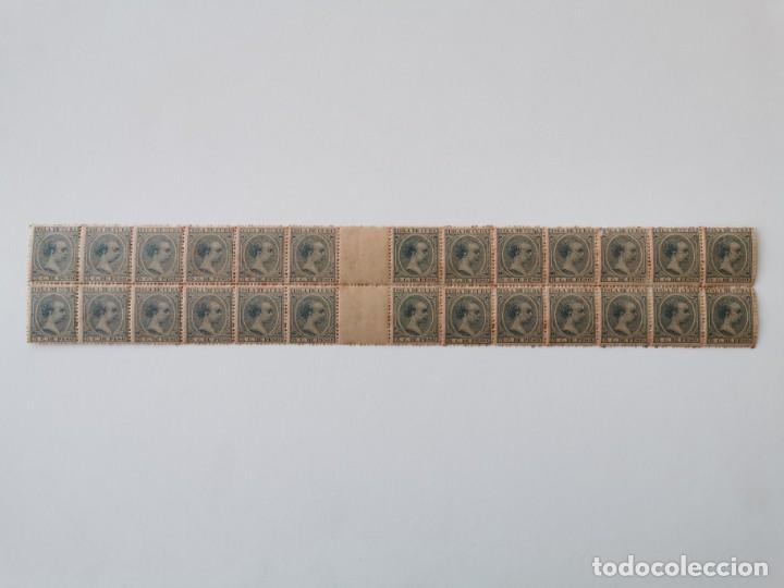PLANCHA CON 28 SELLOS 5 CENTAVOS DE PESO 1890 ISLA DE CUBA ALFONSO XIII - PLANCHA RARÍSIMA (Sellos - España - Colonias Españolas y Dependencias - América - Cuba)
