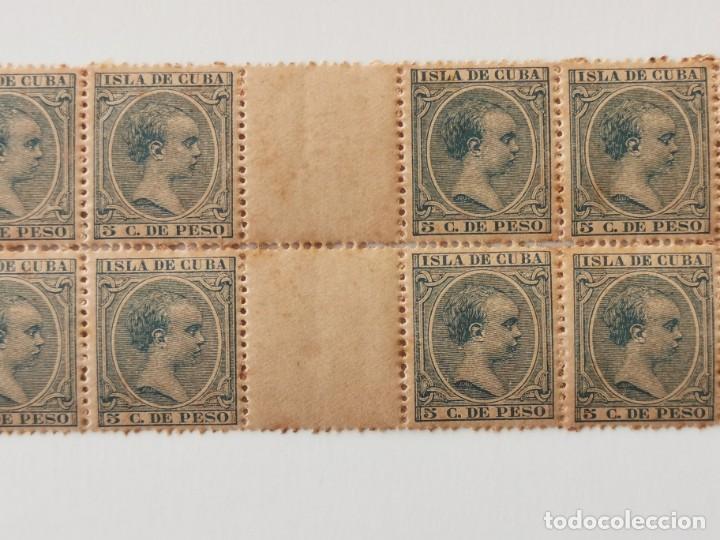 Sellos: PLANCHA CON 28 SELLOS 5 CENTAVOS DE PESO 1890 ISLA DE CUBA ALFONSO XIII - PLANCHA RARÍSIMA - Foto 2 - 203440598