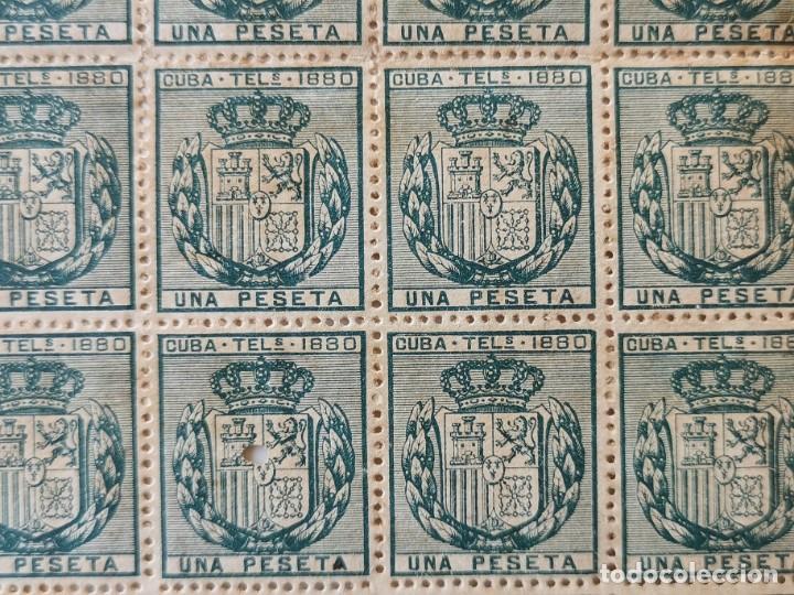 Sellos: PLANCHA CON 65 SELLOS UNA PESETA 1890 - TELÉGRAFOS - ISLA DE CUBA - PLANCHA RARÍSIMA - Foto 2 - 203440918
