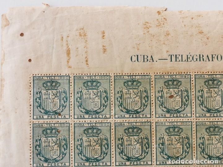 Sellos: PLANCHA CON 65 SELLOS UNA PESETA 1890 - TELÉGRAFOS - ISLA DE CUBA - PLANCHA RARÍSIMA - Foto 3 - 203440918