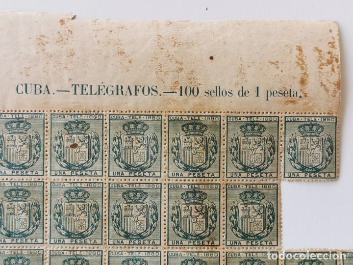 Sellos: PLANCHA CON 65 SELLOS UNA PESETA 1890 - TELÉGRAFOS - ISLA DE CUBA - PLANCHA RARÍSIMA - Foto 4 - 203440918