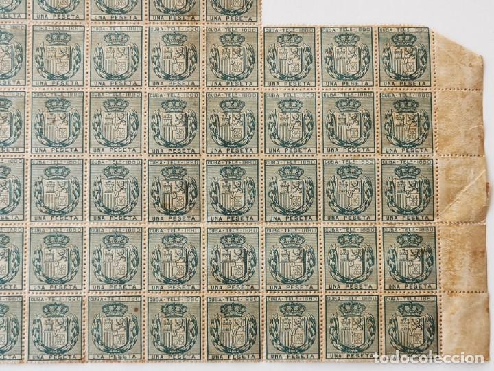 Sellos: PLANCHA CON 65 SELLOS UNA PESETA 1890 - TELÉGRAFOS - ISLA DE CUBA - PLANCHA RARÍSIMA - Foto 5 - 203440918