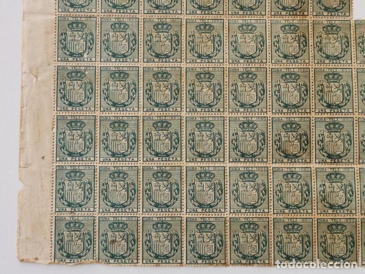 Sellos: PLANCHA CON 65 SELLOS UNA PESETA 1890 - TELÉGRAFOS - ISLA DE CUBA - PLANCHA RARÍSIMA - Foto 6 - 203440918