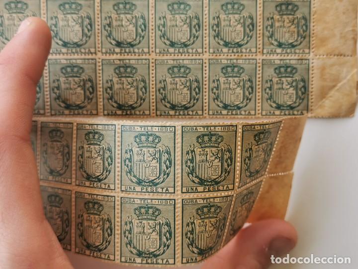 Sellos: PLANCHA CON 65 SELLOS UNA PESETA 1890 - TELÉGRAFOS - ISLA DE CUBA - PLANCHA RARÍSIMA - Foto 7 - 203440918