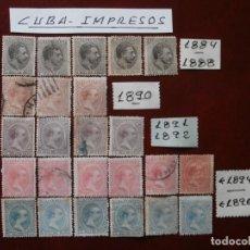 Sellos: PRIMER CENTENARIO - ESPAÑA COLONIAS - ULTRAMAR - CUBA IMPRESOS 1884-88 1890 1891-92 1894 1896 -.. Lote 203770857