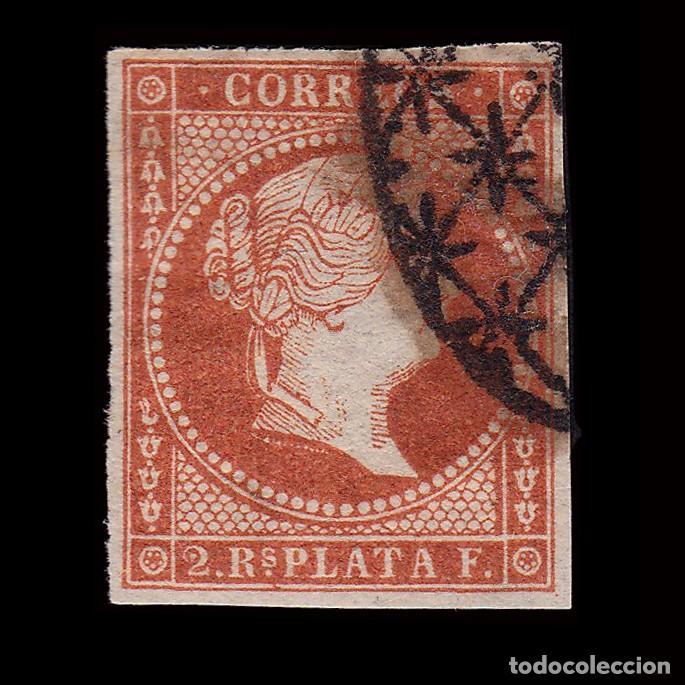 ANTILLAS.1857 ISABEL II.2 R. ROJO .USADO. EDIFIL.9 (Sellos - España - Colonias Españolas y Dependencias - América - Antillas)