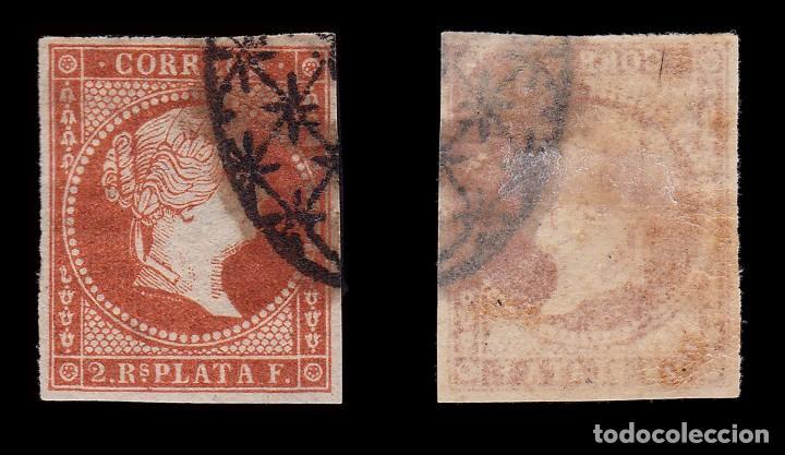 Sellos: ANTILLAS.1857 Isabel II.2 r. rojo .Usado. Edifil.9 - Foto 2 - 205121916