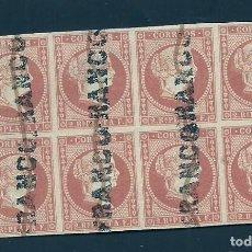 Sellos: V5-10 ANTILLAS ESPAÑOLAS ISABEL II AÑO 1857 EDIFIL Nº 9 BLOQUE DE 8 SELLOS USADOS CON TINTA Y SOBRE. Lote 205471571