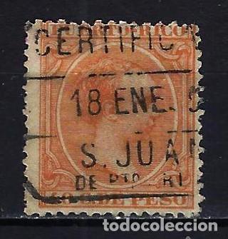 1890 PUERTO RICO EDIFIL 84 ALFONSO XIII 'TIPO PELÓN' - USADO MATASELLOS CERTIFICADO SAN JUAN DE PTO. (Sellos - España - Colonias Españolas y Dependencias - América - Puerto Rico)