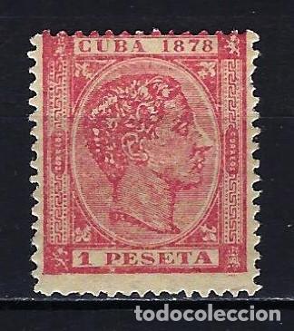 1878 CUBA ALFONSO XII EDIFIL 49 MH* NUEVO CON FIJASELLOS (Sellos - España - Colonias Españolas y Dependencias - América - Cuba)