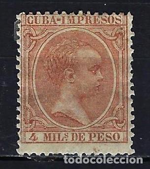 1890 CUBA ALFONSO XIII 'TIPO PELÓN' EDIFIL 110 MH* NUEVO CON FIJASELLOS (Sellos - España - Colonias Españolas y Dependencias - América - Cuba)