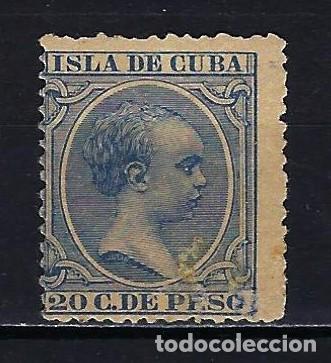 1891-1892 CUBA ALFONSO XIII 'TIPO PELÓN' EDIFIL 129 MH* NUEVO CON FIJASELLOS (Sellos - España - Colonias Españolas y Dependencias - América - Cuba)