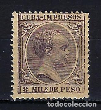 1891-1892 CUBA ALFONSO XIII 'TIPO PELÓN' EDIFIL 123 MH* NUEVO CON FIJASELLOS (Sellos - España - Colonias Españolas y Dependencias - América - Cuba)