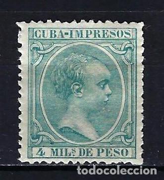 1896-1897 CUBA ALFONSO XIII 'TIPO PELÓN' EDIFIL 144 MH* NUEVO CON FIJASELLOS (Sellos - España - Colonias Españolas y Dependencias - América - Cuba)