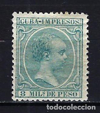 1896-1897 CUBA ALFONSO XIII 'TIPO PELÓN' EDIFIL 145 MH* NUEVO CON FIJASELLOS (Sellos - España - Colonias Españolas y Dependencias - América - Cuba)