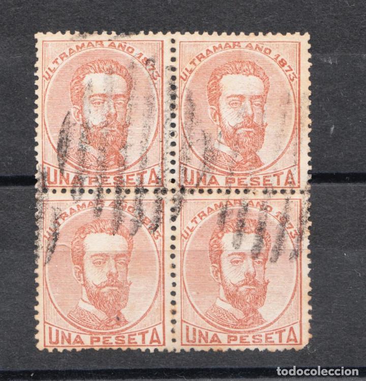 ANTILLAS EDIFIL Nº 27 BLOQUE DE 4 UNA PESETA MATASELLOS DE PARRILLA DE 8 (Sellos - España - Colonias Españolas y Dependencias - América - Antillas)