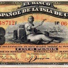Sellos: VESIV BILLETE DEL BANCO ESPAÑOL DE LA ISLA DE CUBA 5 PESOS DE 1896. Lote 210750647