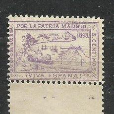 Sellos: SO67-NUEVO SIN GOMA.SELLO VIÑETA PATRIOTICO 1898 POR LA PATRIA MADRID FERROCARRIL VIVA ESPAÑA PUER. Lote 210947479