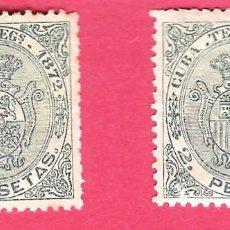 Sellos: 1872. ISABEL II. CUBA TELEGRAFOS, EDIFIL 23. 2 PESETAS VERDE,PAREJA,BUENOS CENTRAJES. Lote 212530096