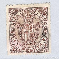 Sellos: 1874. ISABEL II. CUBA TELEGRAFOS, EDIFIL 28, 1 PESETA. Lote 212534357