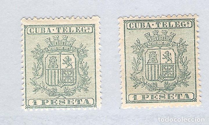 1875. ISABEL II. CUBA TELEGRAFOS, EDIFIL 32. PAREJA. 1 PESETA VERDE (Sellos - España - Colonias Españolas y Dependencias - América - Cuba)