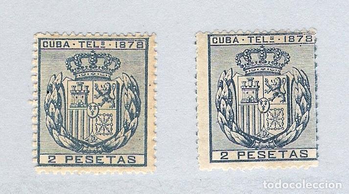 1878. ISABEL II. CUBA TELEGRAFOS, EDIFIL 44. 2 PESETAS AZUL, PAREJA(*) (Sellos - España - Colonias Españolas y Dependencias - América - Cuba)