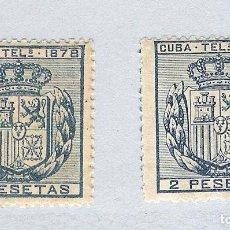 Sellos: 1878. ISABEL II. CUBA TELEGRAFOS, EDIFIL 44. 2 PESETAS AZUL, PAREJA(*). Lote 212698791
