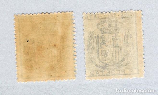 Sellos: 1878. Isabel II. Cuba telegrafos, edifil 44. 2 pesetas azul, PAREJA(*) - Foto 2 - 212698791