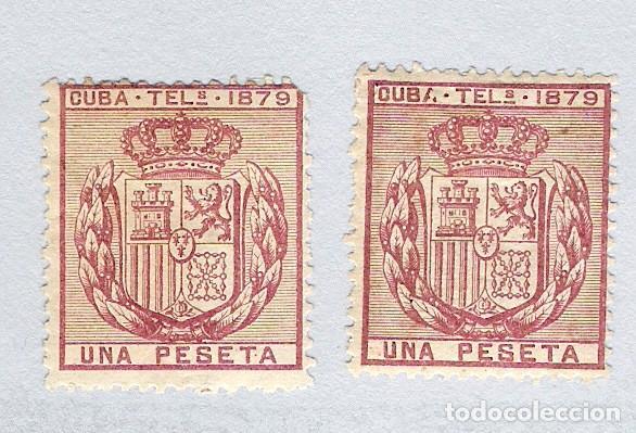 1879. ESCUDO DE ESPAÑA . CUBA TELEGRAFOS, EDIFIL 46. 1 PESETA CARMIN.PAREJA (Sellos - España - Colonias Españolas y Dependencias - América - Cuba)