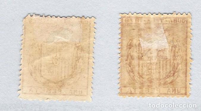 Sellos: 1879. Escudo de España . Cuba telegrafos, edifil 46. 1 peseta carmin.PAREJA - Foto 2 - 212706168