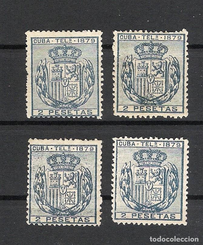 1879. ESCUDO DE ESPAÑA . CUBA TELEGRAFOS, EDIFIL 47. 2 PESETAS AZUL. 4 EJEMPLARES (Sellos - España - Colonias Españolas y Dependencias - América - Cuba)