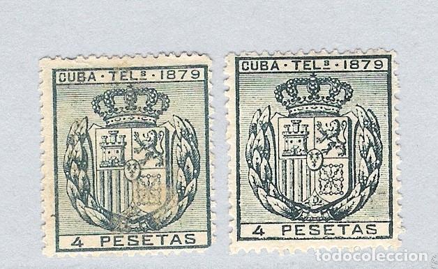 1879. ESCUDO DE ESPAÑA . CUBA TELEGRAFOS, EDIFIL 48. 4 PESETAS VERDE .PAREJA (Sellos - España - Colonias Españolas y Dependencias - América - Cuba)