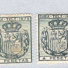 Sellos: 1879. ESCUDO DE ESPAÑA . CUBA TELEGRAFOS, EDIFIL 48. 4 PESETAS VERDE .PAREJA. Lote 212706557