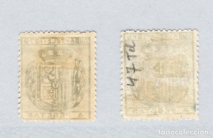 Sellos: 1879. Escudo de España . Cuba telegrafos, edifil 48. 4 pesetas verde .PAREJA - Foto 2 - 212706557