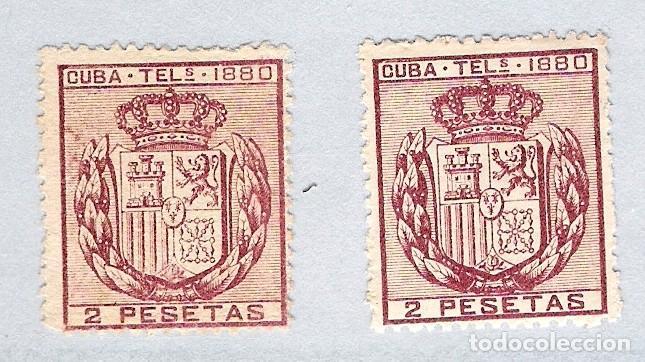 1880. ESCUDO DE ESPAÑA . CUBA TELEGRAFOS, EDIFIL 50. 2 PESETAS CARMIN.PAREJA (Sellos - España - Colonias Españolas y Dependencias - América - Cuba)