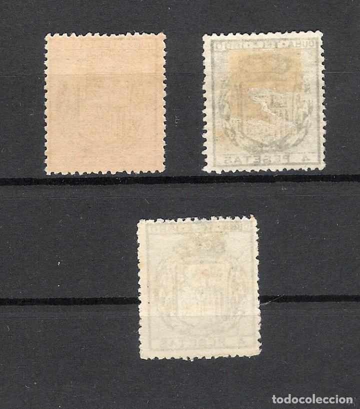 Sellos: 1880. Escudo de España . Cuba telegrafos, edifil 51. 4 pesetas azul. Tres ejemplares - Foto 2 - 212711975