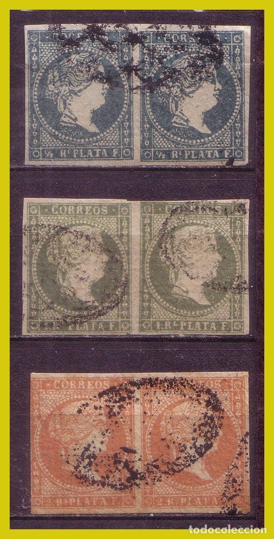 CUBA 1856 ISABEL II, EDIFIL Nº ANT. 4 A ANT. 6 (O) B2, COMPLETA (Sellos - España - Colonias Españolas y Dependencias - América - Cuba)