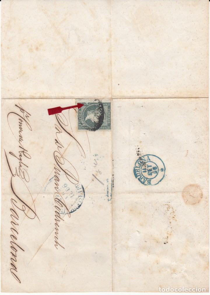 Sellos: ANTILLAS .ENVUELTA CON EL SELLO NUM. 1 DESTINO BARCELONA 1856- ERROR MARCO EXTERIOR IZQUIERDO - Foto 3 - 214009570