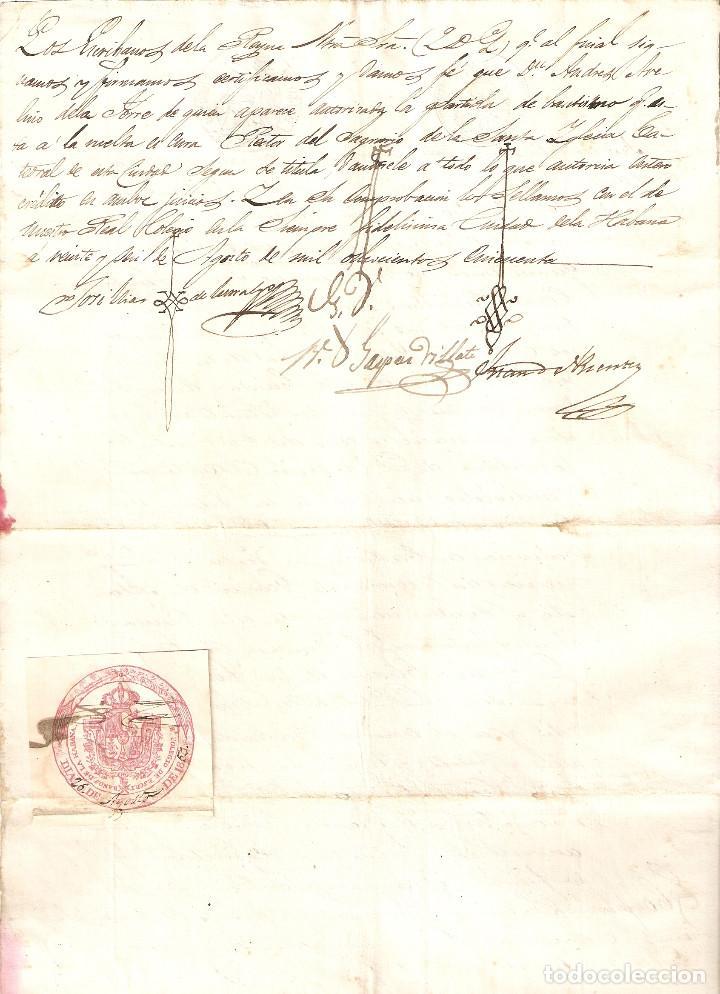 LA HABANA (CUBA) 1850 CERTIFICADO BAUTISMO. SELLO REAL COLEGIO DE ESCRIBANOS DE LA HABANA. (RARO). (Sellos - España - Colonias Españolas y Dependencias - América - Cuba)