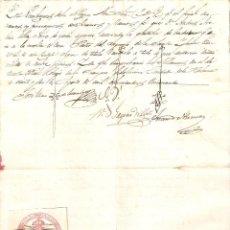 Sellos: LA HABANA (CUBA) 1850 CERTIFICADO BAUTISMO. SELLO REAL COLEGIO DE ESCRIBANOS DE LA HABANA. (RARO).. Lote 219073706