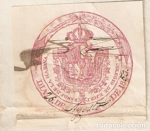 Sellos: La Habana (Cuba) 1850 Certificado bautismo. Sello Real Colegio de Escribanos de la Habana. (Raro). - Foto 2 - 219073706