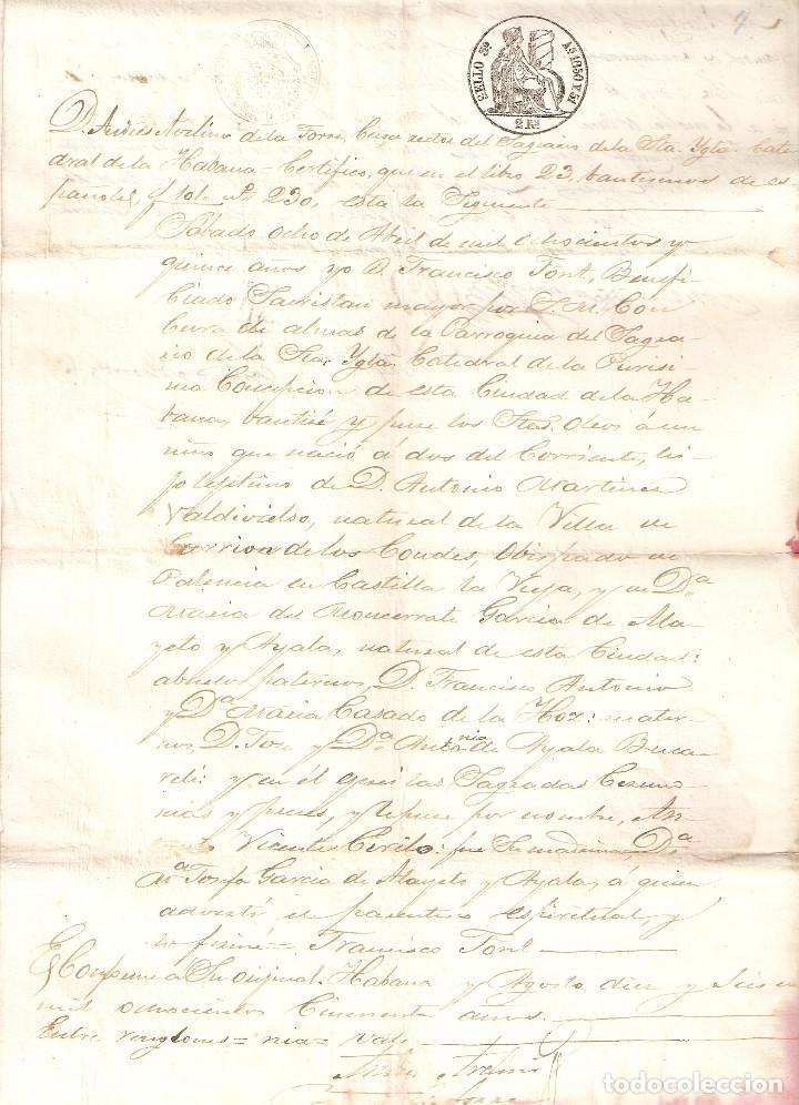 Sellos: La Habana (Cuba) 1850 Certificado bautismo. Sello Real Colegio de Escribanos de la Habana. (Raro). - Foto 3 - 219073706
