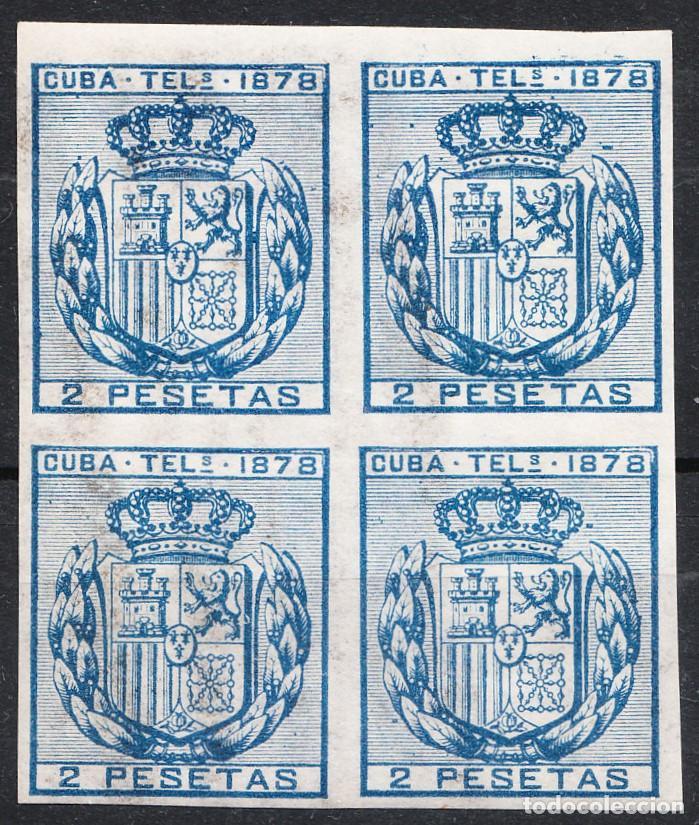 1878 TELÉGRAFOS CUBA EDIFIL 44 BLOQUE DE 4 NUEVO CON GOMA Y SIN FIJASELLOS (Sellos - España - Colonias Españolas y Dependencias - América - Cuba)