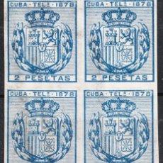 Sellos: 1878 TELÉGRAFOS CUBA EDIFIL 44 BLOQUE DE 4 NUEVO CON GOMA Y SIN FIJASELLOS. Lote 219105462