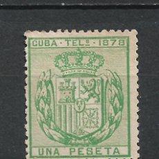 Sellos: ESPAÑA 1CUBA TELEGRAFOS 1878 EDIFIL 43 * MH - 17/37. Lote 222126928