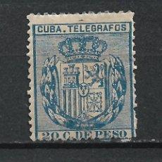 Sellos: ESPAÑA 1CUBA TELEGRAFOS 1894 EDIFIL 79 * MH - 17/37. Lote 222127088