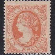 Sellos: CUBA TELÉGRAFOS 1869 - ISABEL II SELLO NUEVO SIN FIJASELLOS EDIFIL Nº 6. Lote 224488852
