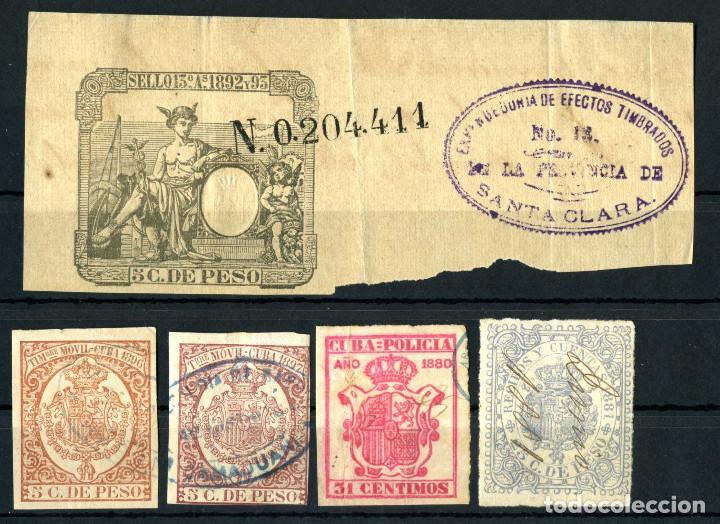 XS- CUBA ESPAÑOLA 1880-1897 LOTE X5 TIMBRE MOVIL, FISCAL, POLICIA, RECIBOS Y CUENTAS, PAPEL SELLADO (Sellos - España - Colonias Españolas y Dependencias - América - Cuba)